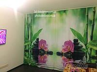 Фото Шторы Орхидеи и бамбук. Материал Габардин. Сшиты полотна.