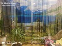 Фото Тюль Озеро в горах. Материал Вуаль. 2 не сшиты полотна