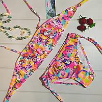Летний детский раздельный купальник для девочки с рисунком единорог, розовый