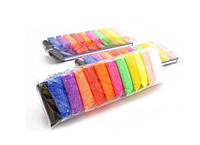 Шариковый пластилин в пакетиках с инструментами для детской лепки набор 12 цветов по 10 грамм