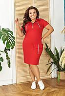 Платье БАТАЛ N179 с капюшоном  (до 56 размера)  красное/ красного цвета, фото 1
