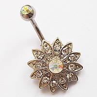 """Для пирсинга пупка """"Весенний цветок"""", украшение из медицинской стали с инкрустацией фианитами., фото 1"""