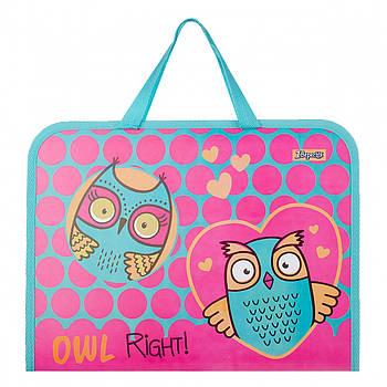 Дитяча папка-портфель на блискавці з тканинними ручками 1 Вересня Owl 26х35х3см Рожевий (491852)