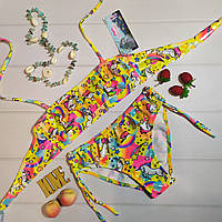 Літній дитячий роздільний купальник для дівчинки з малюнком єдиноріг, жовтий