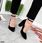 Женские туфли черные, натуральная замша + лакированная кожа под рептилию (в наличии и под заказ 3-14 дней), фото 4