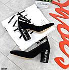 Женские туфли черные, натуральная замша + лакированная кожа под рептилию (в наличии и под заказ 3-14 дней), фото 2