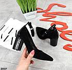 Женские туфли черные, натуральная замша + лакированная кожа под рептилию (в наличии и под заказ 3-14 дней), фото 3