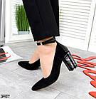 Женские туфли черные, натуральная замша + лакированная кожа под рептилию (в наличии и под заказ 3-14 дней), фото 5