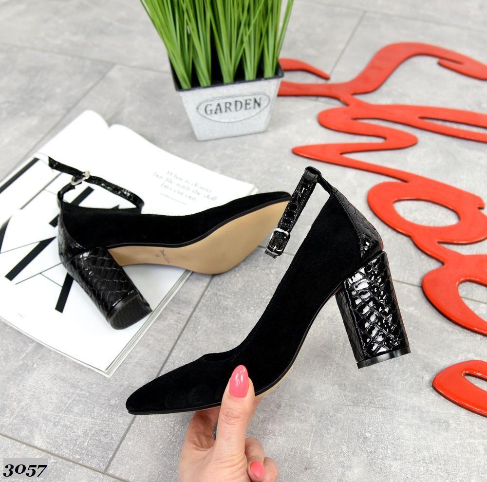 Женские туфли черные, натуральная замша + лакированная кожа под рептилию (в наличии и под заказ 3-14 дней)