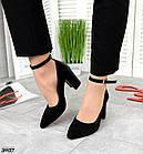 Женские туфли черные, натуральная замша + лакированная кожа под рептилию (в наличии и под заказ 3-14 дней), фото 6
