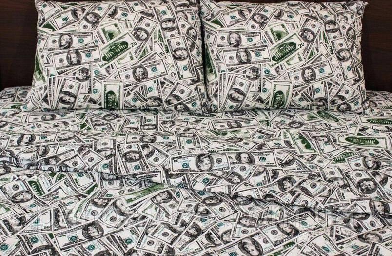 Постельное белье бязь голд, красивый двуспальный комплект Доллары, фото 2