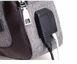 Сумка слинг через плече / нагрудная темно-серая мужская с USB-выходом 1188691202, фото 3