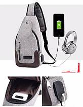 Сумка слинг через плече / нагрудная темно-серая мужская с USB-выходом 1188691202, фото 2