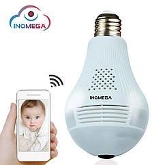 360°панорамная IPкамера lamp лампаINQMEGAIL-369. HD 960P,Cloud, E27,светодиодный свет.iCSee