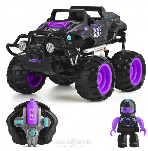 Автомобиль Monster Smash-Ups Crash Car на р/у Черная вдова фиолетово-черный, аккум. 4.8V