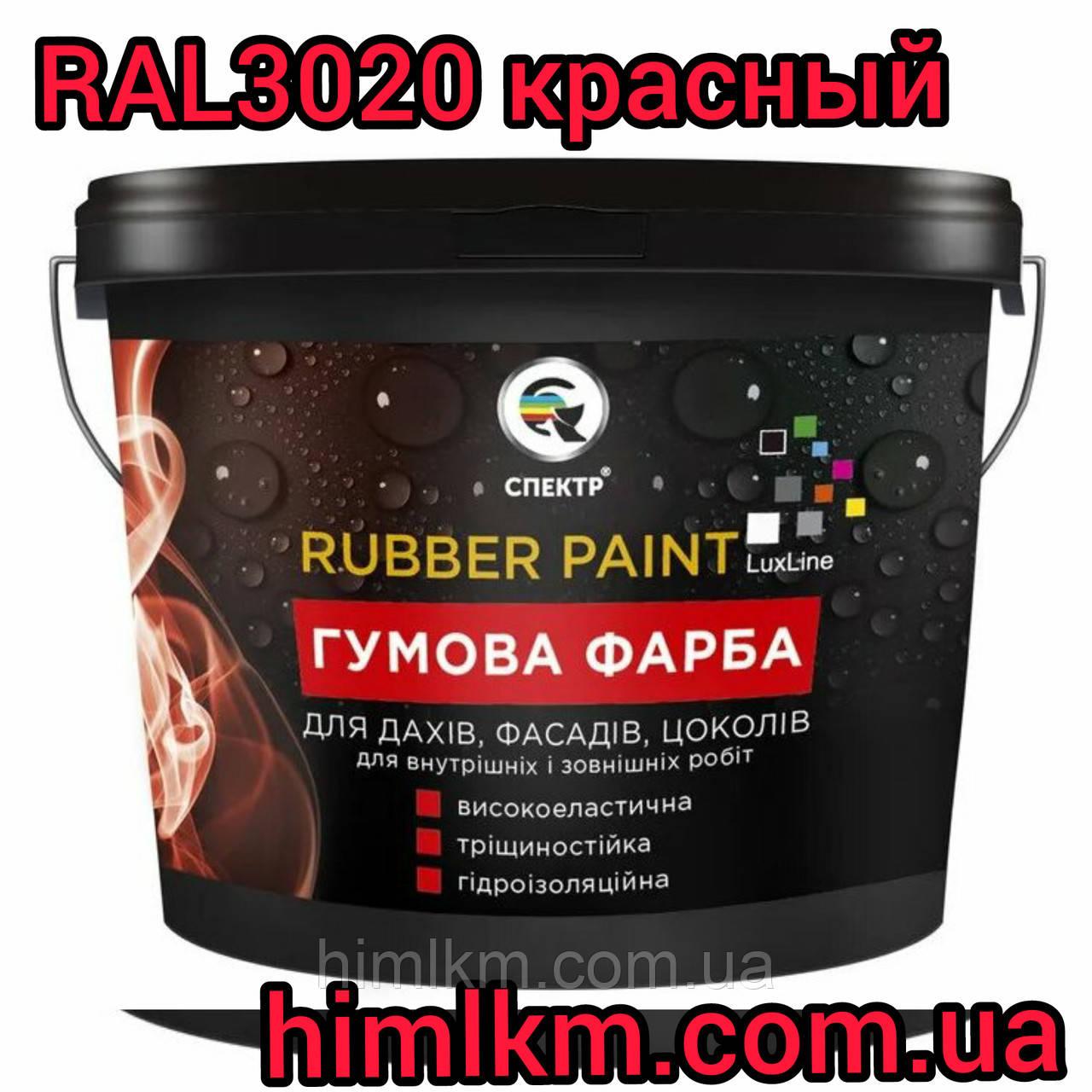 Гумова фарба акрилова, 12кг червоний колір RAL 3020