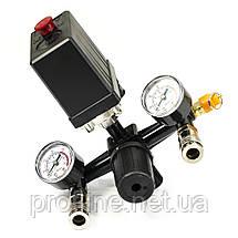 Прессостат в сборе (прессостат, редуктор, 2 манометра, предохранительный клапан, два выхода) Profline 20E, фото 3