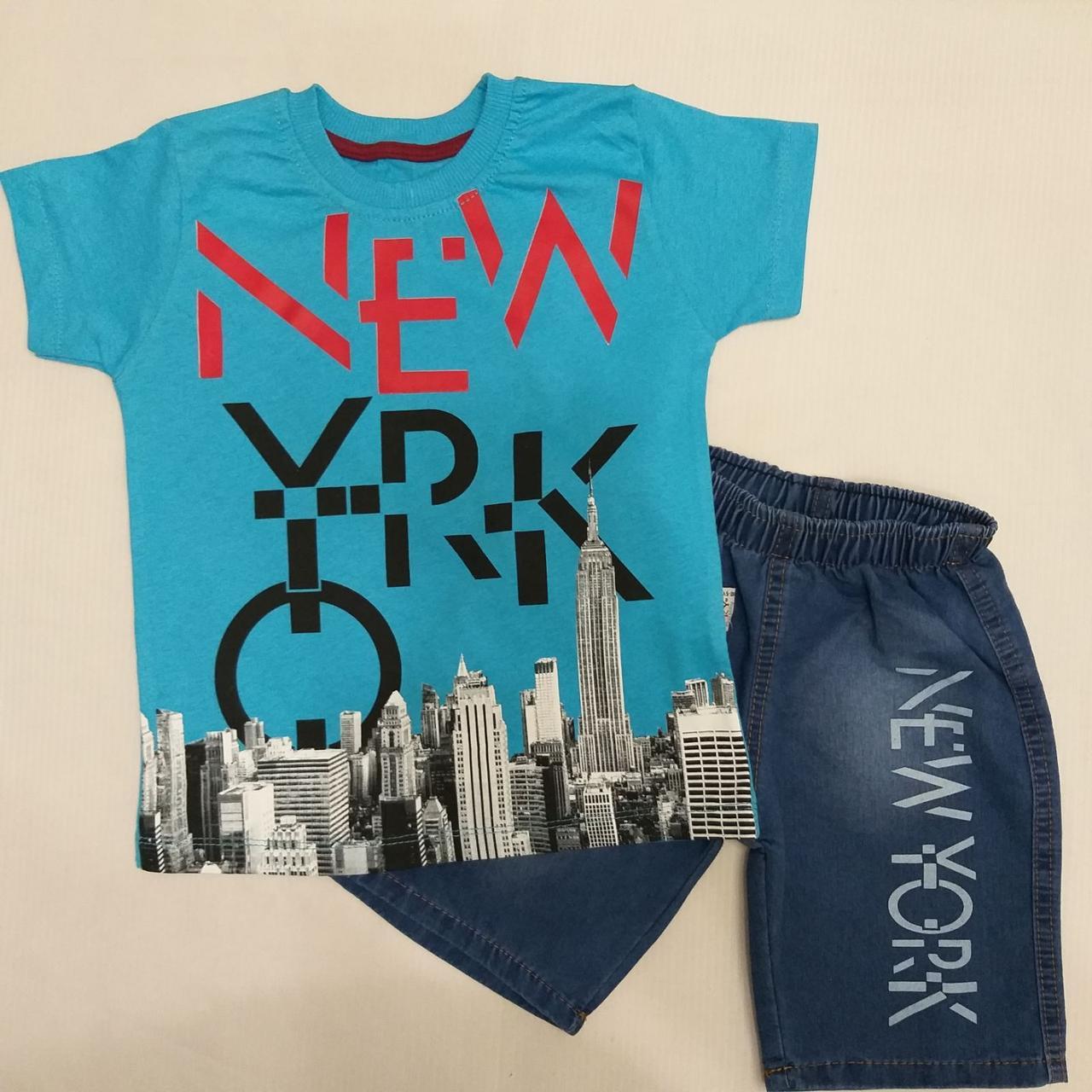 """Костюм детский """"NEW YORK"""" .Размеры 5-8 лет. Голубой. Оптом"""