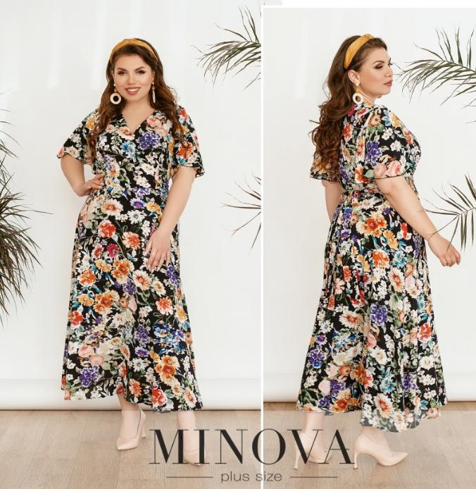 Длинное шелковое платье с цветочным принтом цвет синий Размеры: 52.54.56.58.