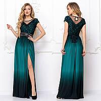 """Элегантное изумрудное вечернее платье с разрезом размеры S, M, XL, 2XL """"Минова"""""""