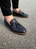 Туфли лоферы мужские черные кожаные с кисточками