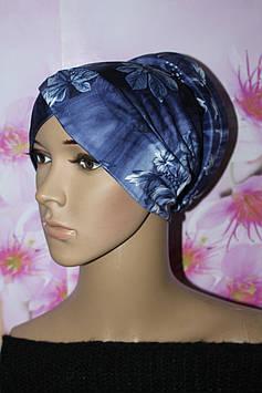 Стильна чалма хіджаб блакитна з принтом квіти