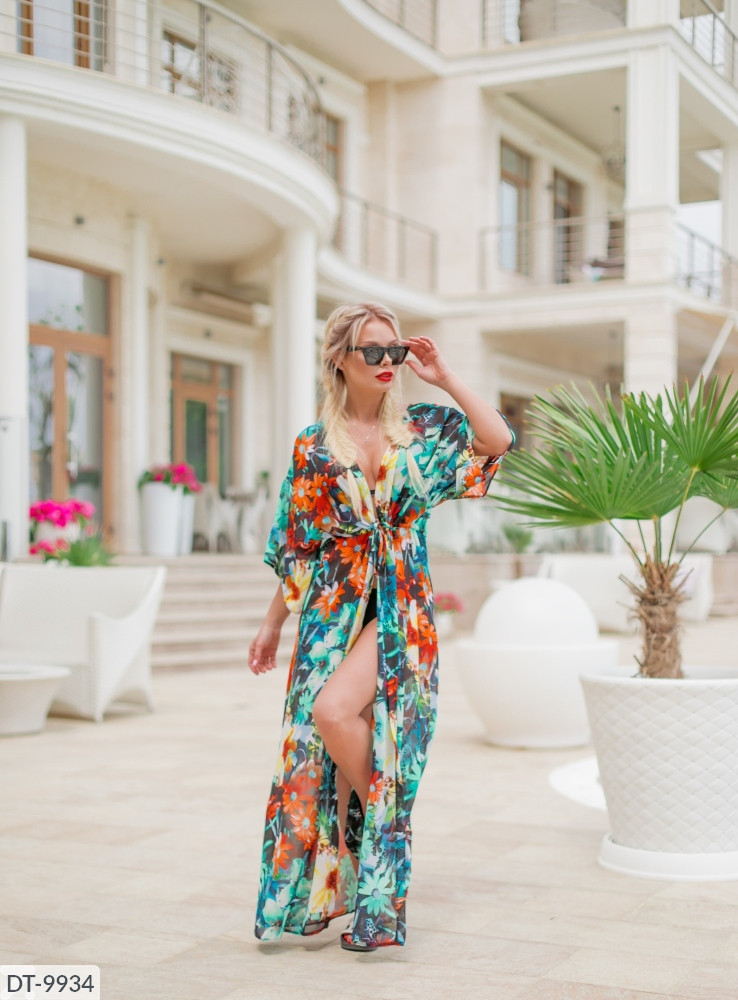 Женский пляжный халат в пол с цветочным притном размер универсальный 42-48