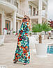 Женский пляжный халат в пол с цветочным притном размер универсальный 42-48, фото 2