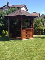Деревянная шестиугольная беседка d-3м - конструктор. С мебелью и полом!