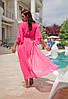 Яркий розовый пляжный халат в пол больших размеров 50-56, фото 4