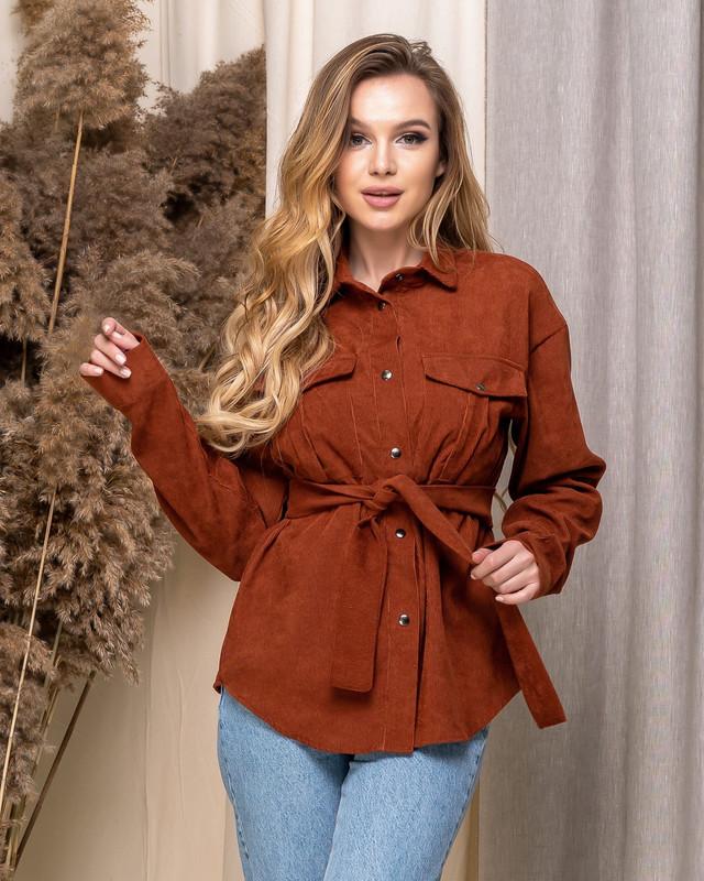 Женская вельветовая рубашка свободного фасона