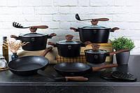 Черный набор посуды из кованного алюминия BERLINGER HAUS 15 пр BH 1537N