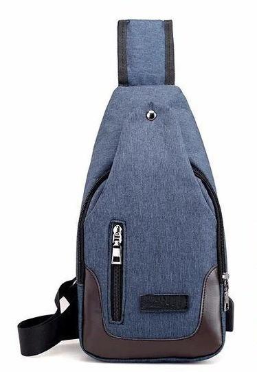 Сумка слинг через плечо синяя с USB-выходом BR-S 1188727287