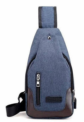 Сумка слинг через плечо синяя с USB-выходом BR-S 1188727287, фото 2