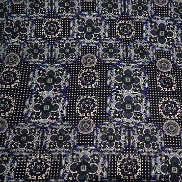 Французький трикотаж принт (на темно-синьому тлі візерунки)