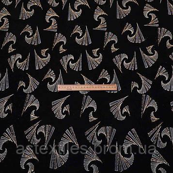 Французький трикотаж принт (на чорному тлі візерунки з золотим напиленням)