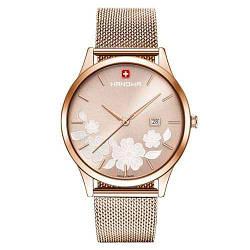 """Часы наручные женские Hanowa 16-3086.09.005 кварцевые, """"миланский"""" браслет, цвет розового золота, Швейцария"""