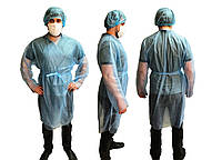 Халат одноразовый защитный с рукавами из спанбонд XL 1шт голубой