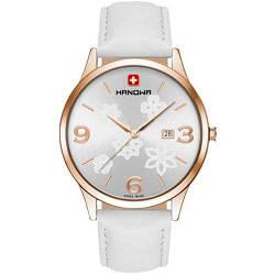 Часы наручные женские Hanowa 16-4085.09.001 кварцевые, белый ремешок из кожи, Швейцария