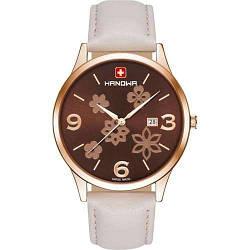 Часы наручные женские Hanowa 16-4085.09.005  кварцевые, белый ремешок из кожи, Швейцария