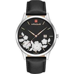 Часы наручные женские Hanowa 16-4086.04.007 кварцевые, черный ремешок из кожи, Швейцария