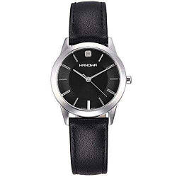 Часы наручные женские Hanowa 16-6042.04.007 кварцевые, черный ремешок из кожи, Швейцария