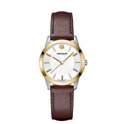 Часы наручные женские Hanowa 16-6042.55.001 кварцевые, коричневый ремешок из кожи, Швейцария