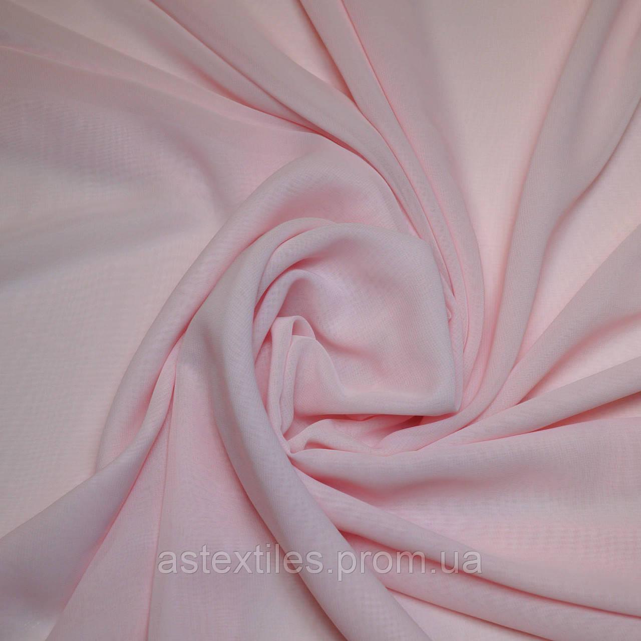 Шифон одежный однотонный (светло-розовый)