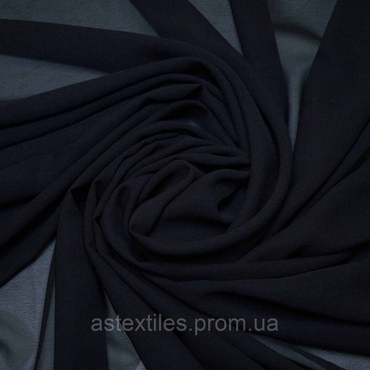 Шифон одежный однотонный (тёмно-синий)