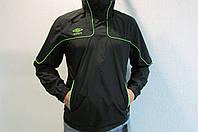 Мужская спортивная куртка Umbro 411214 черная с салатовым код 195б
