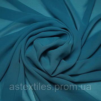 Шифон одежний однотонний (темно-блакитний)