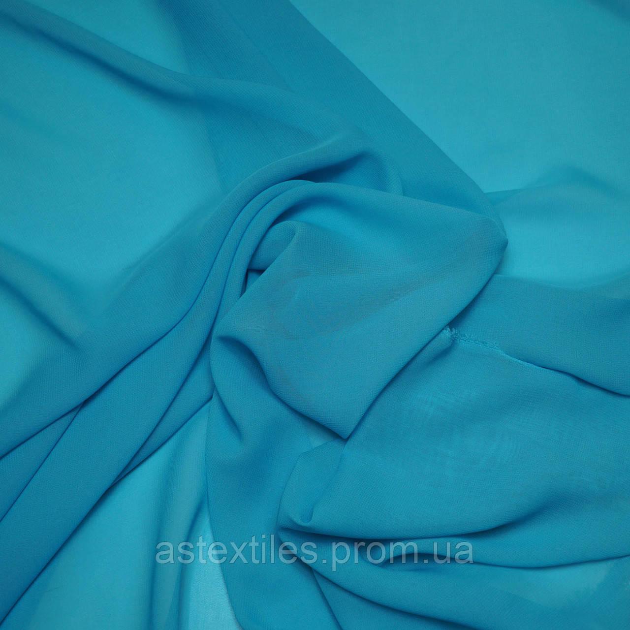 Шифон одежный однотонный (голубой)