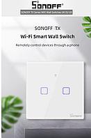 SonoffTouchT0 2 gang (2 кнопки)Wi-fi двухканальный сенсорный умный выключатель
