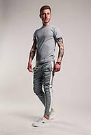 Футболка + штаны с лампасами x grey-white | Комплект летний мужской, фото 1